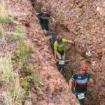 Riders moving in between a narrow rocky trench during the sixth Trailseeker Series event. Photo: Facebook/Nissan Trailseeker