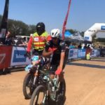 Wessel Botha pictured crossing the line after winning the 947 Mountain Bike Challenge today. Photo: Twitter/@947Cycle