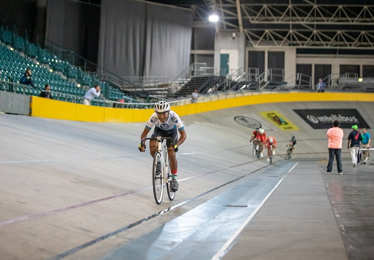 A rider in action at the SA National Track Champs yesterday. Photo: Owen Lloyd