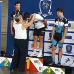 Storm King receiving his gold medal for winning the junior men's time-trial at the SA National Track Championships yesterday. Photo: Supplied