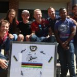 The Team Spur riders and staff (from left) Nic Lamond, Ariane Lüthi, Alan Hatherly, JP Jacobs (mechanic), Sacha du Plessis (group marketing executive of the Spur Group), Khakhi Diala (sponsorship and events manager of the Spur Group and, Tim Bassingthwaighte (team manager). Photo: Supplied