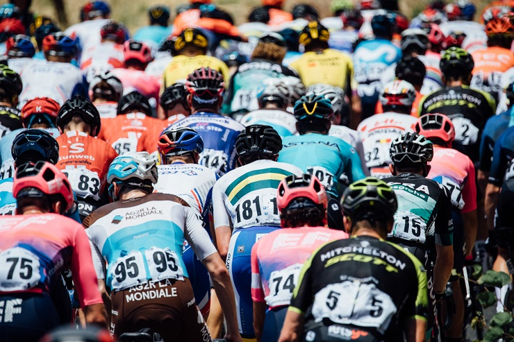 A bunch of cyclists in action during the opening stage of the Tour Down Under