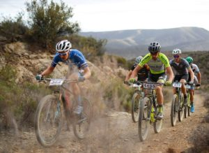 Some of the elite riders moving along a dusty section during the Attakwas Extreme. Photo: ZC Marketing Consulting