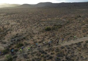 A spectacular aerial shot of the elite men moving through the Karoo during the Attakwas Extreme. Photo: ZC Marketing Consulting