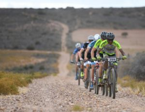 Phillimon Sebona leading the way along a flat gravel section during the Attakwas Extreme. Photo: ZC Marketing Consulting
