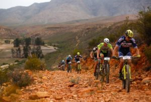 National marathon champion Gert Heyns (front) leading the way up a rocky ascent during the Attakwas Extreme. Photo: ZC Marketing Consulting