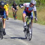 Bradley Gouveris pictured winning the final sprint in the East Cape Provincial Cycling Road Champs road race yesterday. Photo: Facebook/East Cape Road Cycling