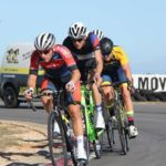 Bradley Gouveris (front) in action during the criterium at the Festival of Cycling at the weekend. Photo: East Cape Cycling