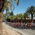 A bunch of cyclists in action during stage two of the Tour Down Under