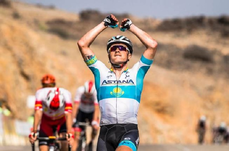 Alexey Lutsenko crossing the finish line to win stage three of the Tour of Oman today. Photo: Muscat Municipality/A.S.O./K.D. Thorstad