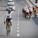 Astana Pro's Alexey Lutsenko moments before crossing the line to win stage two of the Tour of Oman today. Photo: Muscat Municipality/A.S.O./Pauline Ballet