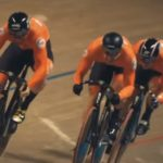 The Netherlands' men's trio in action during the team sprint at the Track Cycling World Champs yesterday. Photo: UCI