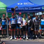 OfficeGuru's Marc Pritzen (centre) was delighted and relieved to win the Ride for Sight in his national jersey today. Photo: Supplied