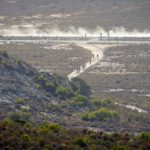 A spectacular far shot of riders moving along dusty jeep tracks. Photo: Jacques Marais
