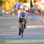 Belgium's Victor Campenaerts soloing during his UCI world road champs individual time-trial last year. Photo: Photo credits