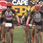 Investec-songo-Specialized's Annika Langvad and Anna van der Breggen crossing the line to win the elite women's 20km prologue of the Cape Epic today. Photo: Live stream