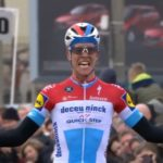 Deceuninck-QuickStep's Bob Jungels celebrating moments after winning the 201.1km Kuurne-Brussel-Kuurne today. Photo: Tiz-cycling.racing