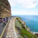 Riders enjoyed a spectacular view of the ocean during the Cape Town Cycle Tour today. Photo: Chris Hitchcock
