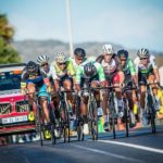 The elite men's breakaway moving over an undulating section during the Cape Town Cycle Tour today. Photo: Chris Hitchcock