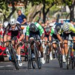 New Zealander Sam Gaze (left) split-seconds after winning the Cape Town Cycle Tour today in a sprint finish. Photo: Chris Hitchcock
