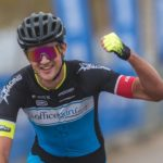 Yellow jersey holder Dylan Girdlestone celebrates his win on the 145km fourth stage of the Takealot Tour of Good Hope