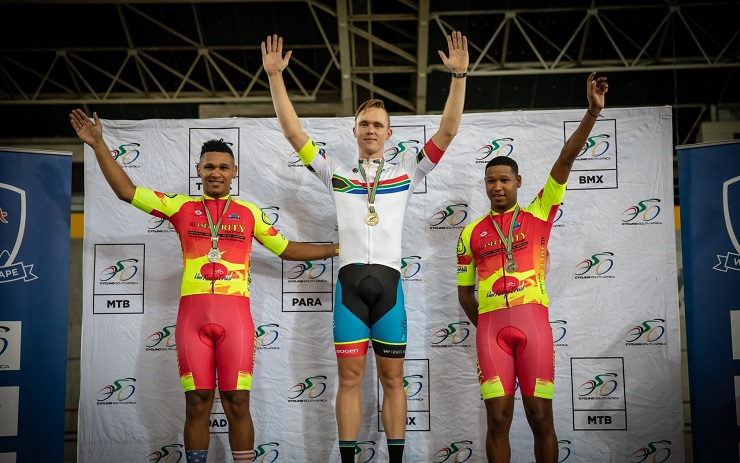 South African track cyclist Joshua van Wyk after winning the 1 500m event at the SA National Track Champs
