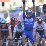 Deceuninck-QuickStep's Julian Alaphilippe crossing the line in elation to win the Milan-San Remo today. Photo: LaPresse- D'Alberto/Ferrari/Alpozzi