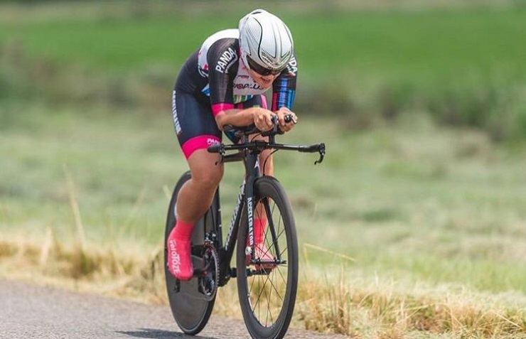 Liezel Jordaan time-trialling her way to victory at the national road champs a few weeks ago. Photo: Henk Neuhoff