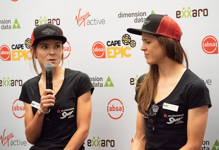 Maja Włoszczowska (left) and Ariane Luthi are all set for the Cape Epic under the banner of Kross. Photo: Greg Beadle/Cape Epic