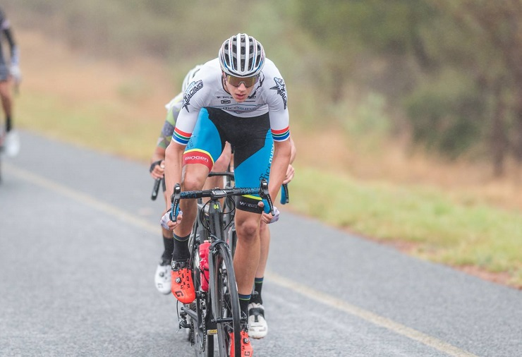 Under-23 national champion Marc Pritzen showing off his stripes during stage one of the Tour of Good Hope. Photo: Henk Neuhoff Photography