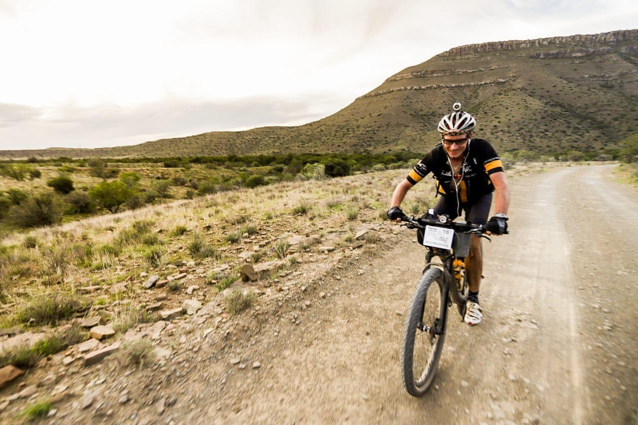 Mike Woolnough enjoying the beautiful scenery during the Race to Cradock