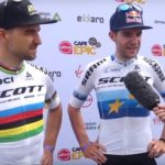 Nino Schurter (left) and Lars Forster dominated proceedings on the 111km first stage of the Cape Epic today. Photo: Live Stream