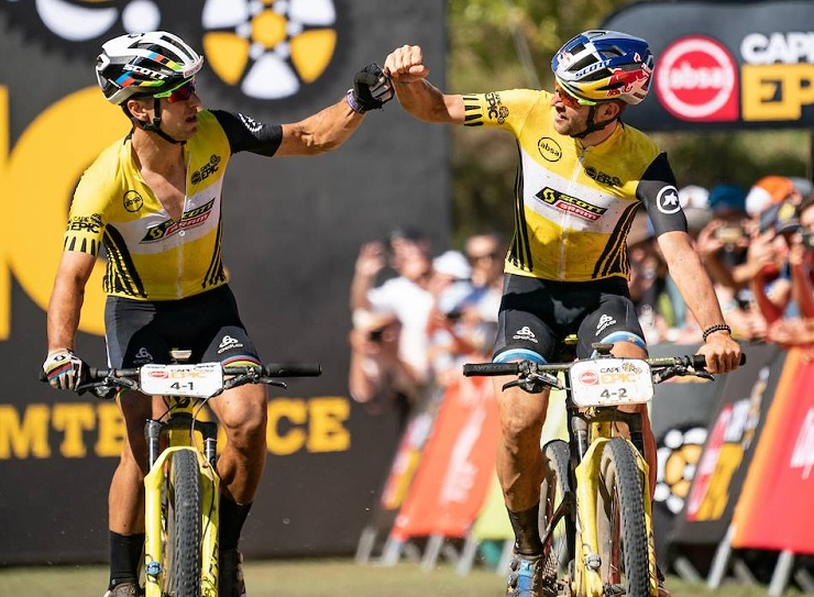 Scott-SRAM's Nino Schurter (left) and Lars Forster won last year's Cape Epic. Photo: Greg Beadle/Cape Epic
