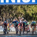 Sam Gaze punching the air after winning the Cape Town Cycle Tour today. Photo: Chris Hitchcock