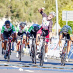 New Zealander Sam Gaze crossing the line to win the Cape Town Cycle Tour today. Photo: Chris Hitchcock