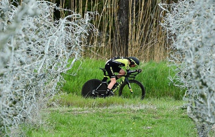 Mitchelton-Scott's Simon Yates in action during his individual time-trial on stage three of the Paris-Nice today. Photo: A.S.O./Alex Broadway