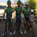 The South African junior men posing for a photo ahead of their TTT today (from left) Damon Fouchee, Tiano Da Silva and Dian Fritz. Photo: Supplied