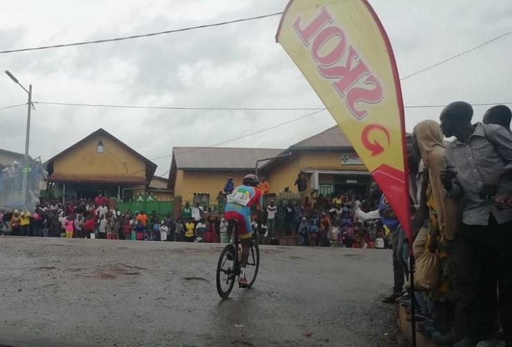 Eritrea's Yacob Debesay soloing ahead and up a climb during stage seven of the Tour du Rwanda. Photo: Tour du Rwanda