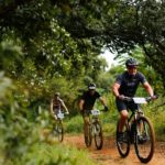 Mountain bikers in action during day one of the Cradle Traverse