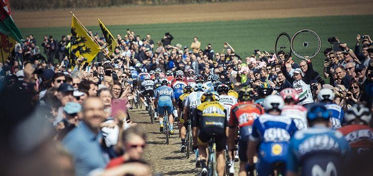 The peloton in action during last year's Paris-Roubaix