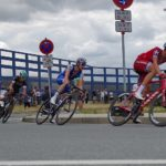 Maximilian Schachmann (centre) won stage four of the Tour of the Basque Country