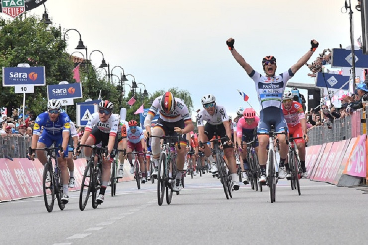 Damiano Cima won stage 18 of the Giro d'Italia