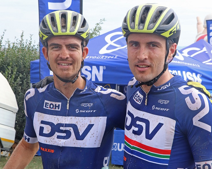 Gert Heyns (right) and Arno du Toit won stage one of the sani2c Race