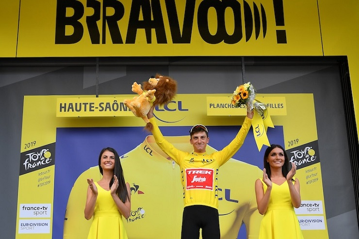 Giulio Ciccone in the yellow jersey on stage six of the 2019 Tour de France