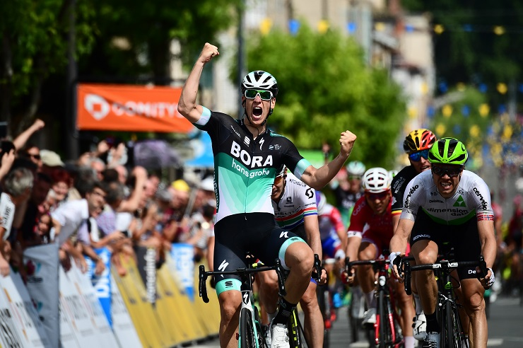 Bora-Hansgrohe's Pascal Ackermann, pictured winning stage two of the Criterium du Dauphine