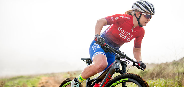 Samantha Sanders rides for the dormakaba team