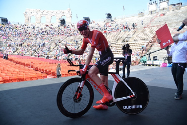 Chad Haga won the individual time trial on the final stage of the Giro d'Italia