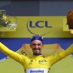 Julian Alaphilippe in the yellow jersey on stage three of the 2019 Tour de France