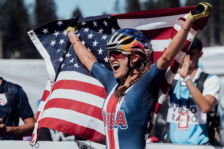 Kate Courtney won gold in the elite women's cross-country olympic race at the UCI MTB World Cup