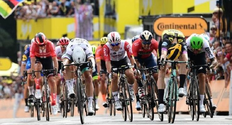 Mike Teunissen won stage one of the Tour de France